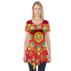 Red And Orange Floral Geometric Pattern Short Sleeve Tunic