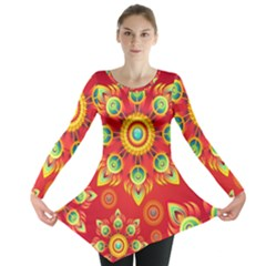Red And Orange Floral Geometric Pattern Long Sleeve Tunic