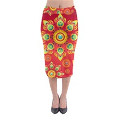 Red and Orange Floral Geometric Pattern Midi Pencil Skirt