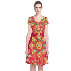 Red and Orange Floral Geometric Pattern Short Sleeve Front Wrap Dress