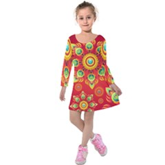 Red And Orange Floral Geometric Pattern Kids  Long Sleeve Velvet Dress