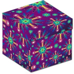 Purple and Green Floral Geometric Pattern Storage Stool 12