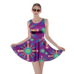 Purple and Green Floral Geometric Pattern Skater Dress
