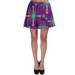 Purple and Green Floral Geometric Pattern Skater Skirt