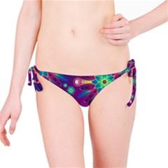 Purple and Green Floral Geometric Pattern Bikini Bottom