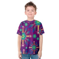 Purple and Green Floral Geometric Pattern Kids  Cotton Tee