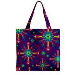 Purple and Green Floral Geometric Pattern Grocery Tote Bag
