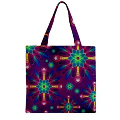 Purple and Green Floral Geometric Pattern Zipper Grocery Tote Bag