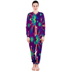 Purple and Green Floral Geometric Pattern OnePiece Jumpsuit (Ladies)