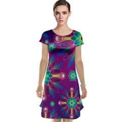 Purple and Green Floral Geometric Pattern Cap Sleeve Nightdress