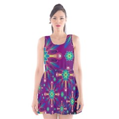 Purple and Green Floral Geometric Pattern Scoop Neck Skater Dress