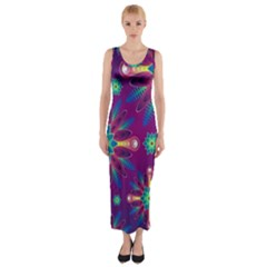 Purple and Green Floral Geometric Pattern Fitted Maxi Dress