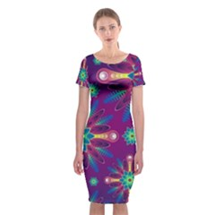 Purple And Green Floral Geometric Pattern Classic Short Sleeve Midi Dress