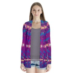 Purple and Green Floral Geometric Pattern Cardigans