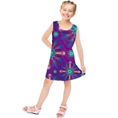 Purple and Green Floral Geometric Pattern Kids  Tunic Dress