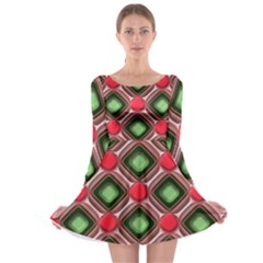 Gem Texture A Completely Seamless Tile Able Background Design Long Sleeve Skater Dress