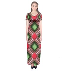 Gem Texture A Completely Seamless Tile Able Background Design Short Sleeve Maxi Dress