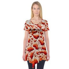Water Drops Background Short Sleeve Tunic