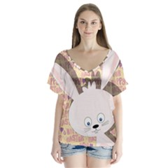 Easter bunny  Flutter Sleeve Top