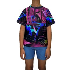 Abstract Artwork Of A Old Truck Kids  Short Sleeve Swimwear