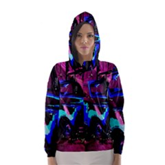 Abstract Artwork Of A Old Truck Hooded Wind Breaker (women)