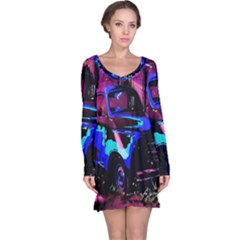 Abstract Artwork Of A Old Truck Long Sleeve Nightdress