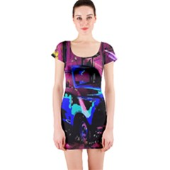 Abstract Artwork Of A Old Truck Short Sleeve Bodycon Dress
