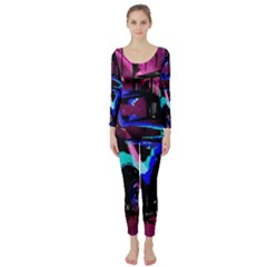 Abstract Artwork Of A Old Truck Long Sleeve Catsuit