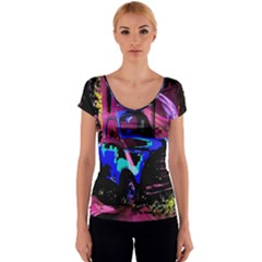 Abstract Artwork Of A Old Truck Women s V-Neck Cap Sleeve Top
