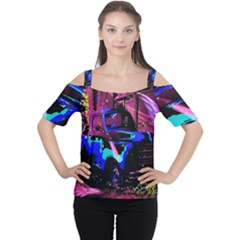 Abstract Artwork Of A Old Truck Women s Cutout Shoulder Tee