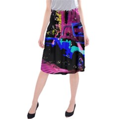 Abstract Artwork Of A Old Truck Midi Beach Skirt