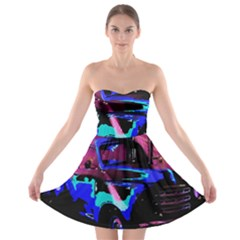 Abstract Artwork Of A Old Truck Strapless Bra Top Dress