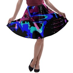 Abstract Artwork Of A Old Truck A Line Skater Skirt