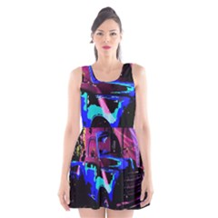 Abstract Artwork Of A Old Truck Scoop Neck Skater Dress