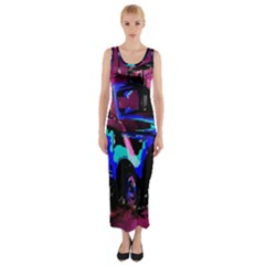 Abstract Artwork Of A Old Truck Fitted Maxi Dress