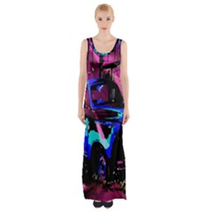 Abstract Artwork Of A Old Truck Maxi Thigh Split Dress