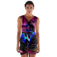 Abstract Artwork Of A Old Truck Wrap Front Bodycon Dress