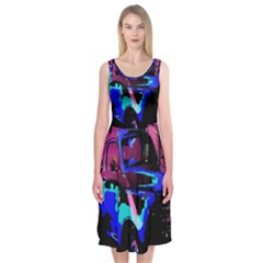 Abstract Artwork Of A Old Truck Midi Sleeveless Dress