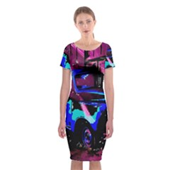 Abstract Artwork Of A Old Truck Classic Short Sleeve Midi Dress