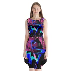 Abstract Artwork Of A Old Truck Sleeveless Chiffon Dress