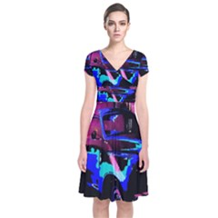 Abstract Artwork Of A Old Truck Short Sleeve Front Wrap Dress