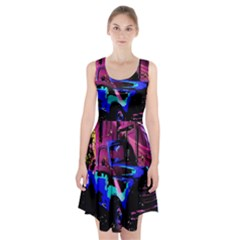 Abstract Artwork Of A Old Truck Racerback Midi Dress