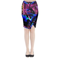 Abstract Artwork Of A Old Truck Midi Wrap Pencil Skirt