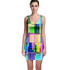 Glitch Art Abstract Sleeveless Bodycon Dress