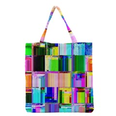 Glitch Art Abstract Grocery Tote Bag
