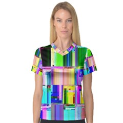Glitch Art Abstract Women s V Neck Sport Mesh Tee