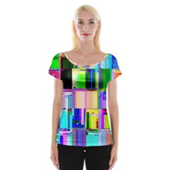 Glitch Art Abstract Women s Cap Sleeve Top
