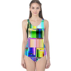 Glitch Art Abstract One Piece Swimsuit