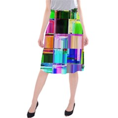 Glitch Art Abstract Midi Beach Skirt