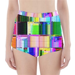 Glitch Art Abstract High Waisted Bikini Bottoms
